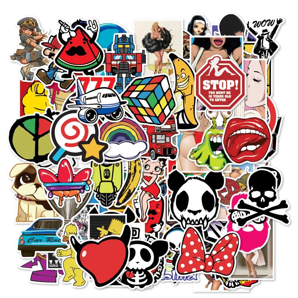 100 pc Black White Stickers Graffiti Laptop Skateboard Luggage Car Decal Mix Lot