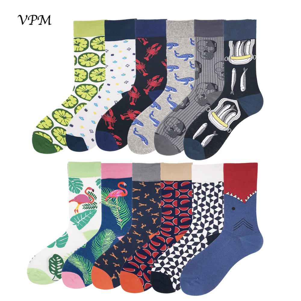 VPM Combed Cotton Men's   Socks   Colorful Funny Harajuku Trendy Flamingo Shark Novelty Happy Skateboard   Socks   Wedding   Sock   Gift