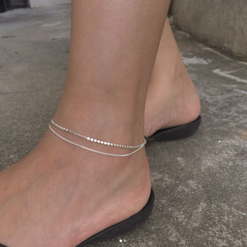 Silvology 925 Sterling Silver Flat Bead Chain Double Layer Anklets Silver Elegant Minimalist Beach Female Anklets Foot Jewelry