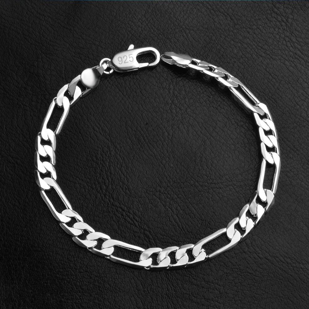 ER 6mm Male Punk Flat Silver Figaro Chain Bracelet Women Braslet Hiphop Jewelery Men Pulseira Masculina Prata RB008