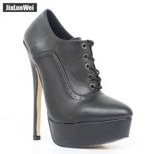 Jialuowei NEW 2017 18cm/7″ High Thin heel Shoes Women Sexy Fetish Lace-up Platform Stiletto Party Dance Wedding Pumps Plus size