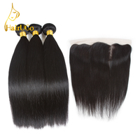HairUGo Pre Colored Peruvian Straight Human Hair Bundles With Closure 3 Bundles Extension With 13 4