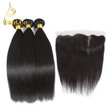 HairUGo Pre-colorate Peruvian Straight Legături de păr uman cu închidere 3 prelungiri Bundles Cu 13 * 4 Lace Frontal de închidere Non rem