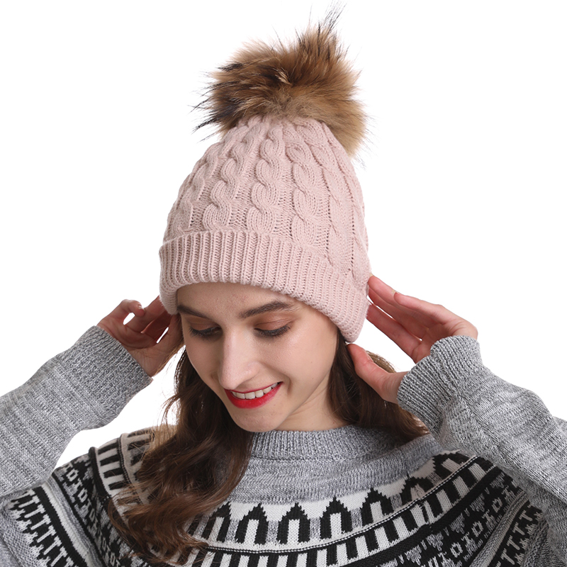 Mom And Kids Winter Hats For Women Big Real Fur Pompom Hat Twisted Knitted   Beanie   Cap Girls Cotton   Skullies
