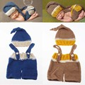 New Top Sale Elf Beanie Hat with Pocket Suspender Set Newborn Baby Boys Crochet Knit Costume Photo Photography Prop H214