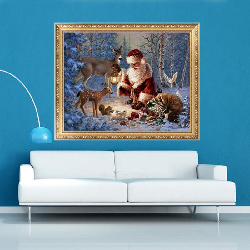 Home Decor Diamond Painting Cross Stitch Santa Claus &Snowman Embroidery Diamond Mosaic  ...