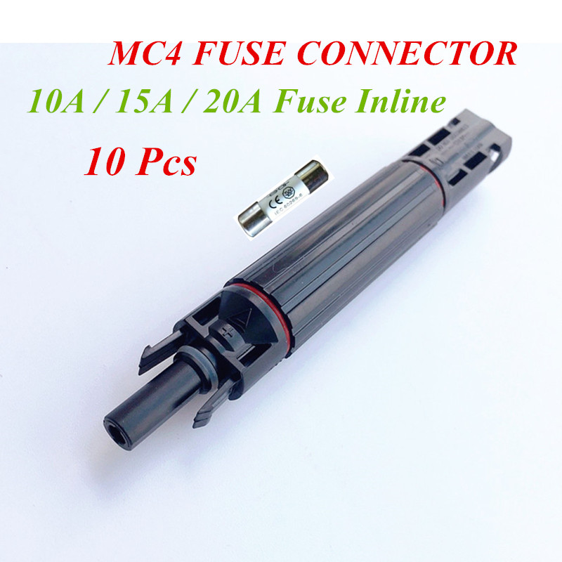 Free Shipping !! 10 Pcs X MC4 In-line Fuse Connector 15 Amp 1000 VDC Male/Fem Solar Fuse Holder 15A CHINA STOCK !! 15a fuse holder with 1 4 in tabs for henny penny ef02 006