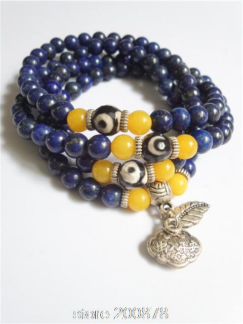 BB 034 Buddhist 108 Prayer Beads Mala Lapis Lazuli Bracelet