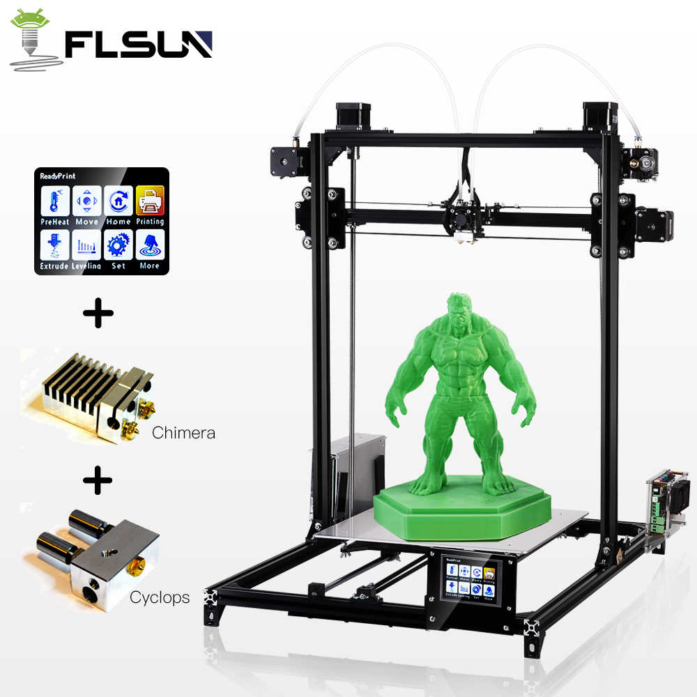 2019 Flsun I3 3d принтер большой размер печати двойной экструдер 3D-принтер 300X300X420 мм размер печати сенсорный экран с подогревом кровать нити