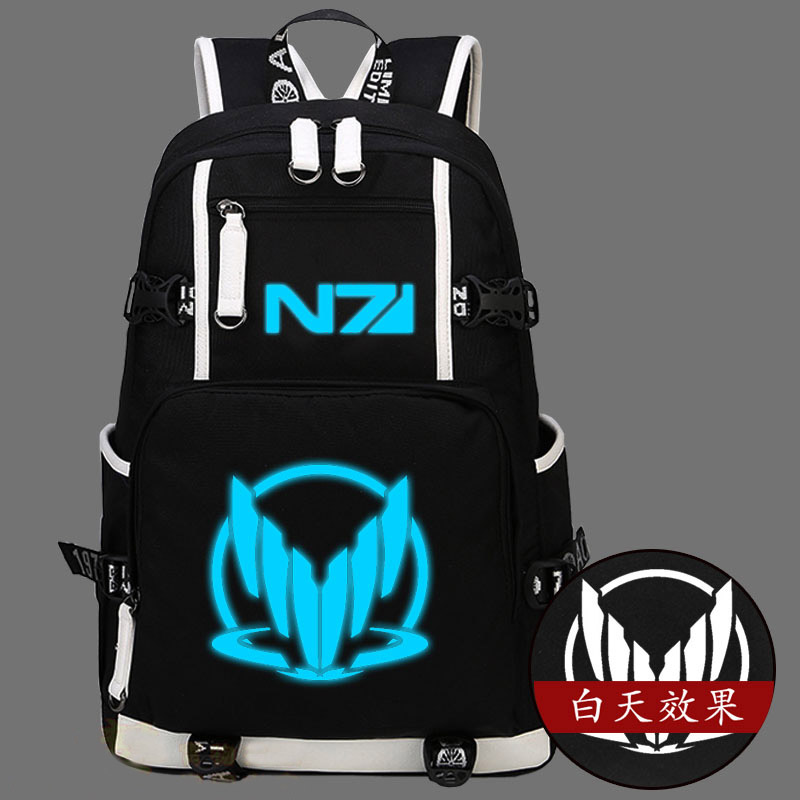 Hot Game Mass Effect Backpack Canvas Bag N7 Luminous Schoolbag Travel Bags