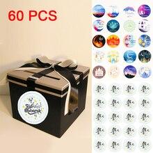 60 قطعة ملصقات عيد مبارك في صندوق التسمية ورقة ختم هدية ملصقات رمضان مبارك عيد الزينة الهدايا الإسلامية مسلم