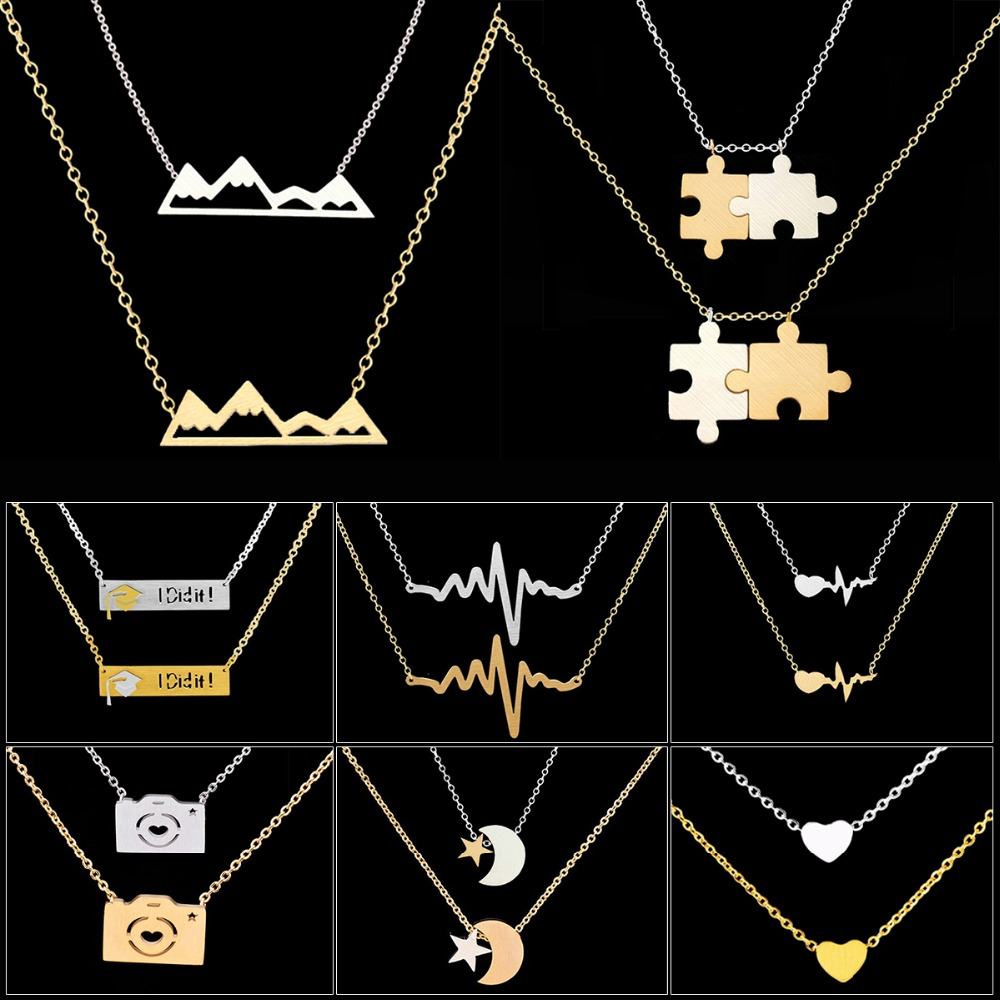 Cadena de acero inoxidable Bijoux Femme Moon & Star Heart Puzzle Mountain Camera Graduate Gargantillas Collares Mujeres