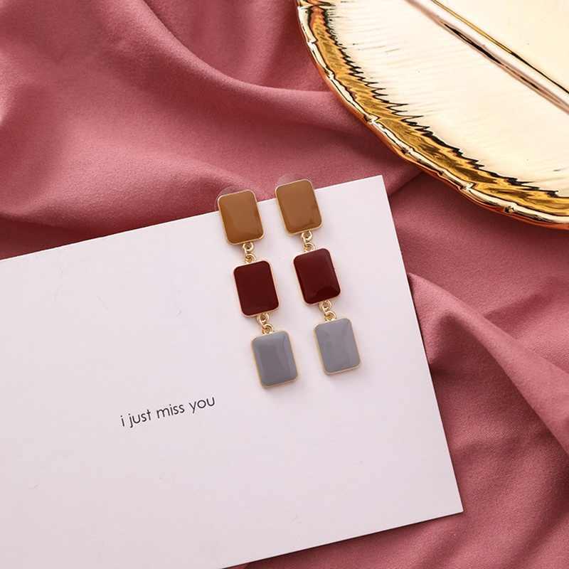 Nuevo diseño dulce pendiente Irregular geométrico acrílico largo Pendientes grandes para mujeres 2019 coreano joyas colgantes elegantes