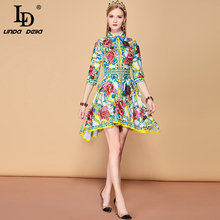 LD LINDA DELLA 2019 Summer Fashion Runway Asymmetrical Dress Womens Half Sleeve Rose Floral Print Vintage Elegat