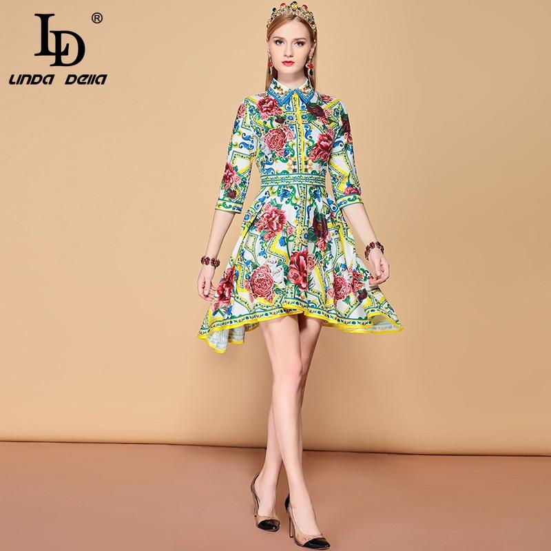 Kadın Giyim'ten Elbiseler'de LD LINDA DELLA 2019 Yaz Moda Pist Asimetrik Elbise kadın Yarım Kollu Gül Çiçek Baskı Vintage Elegat Elbise'da  Grup 1