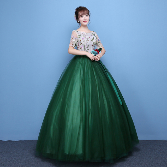 100%real luxury dark green leaf flower embroidery beading princess ball  gown medieval dress victoria belle ball 49993806ca3b