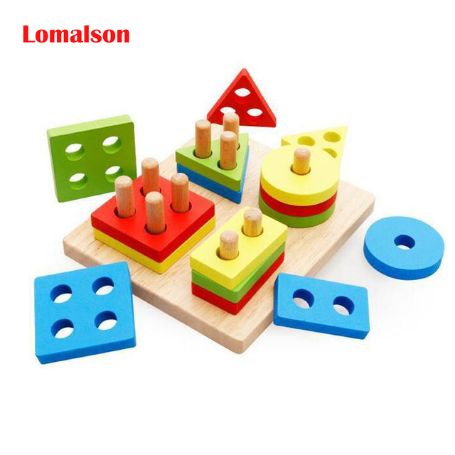 Wooden Shape Stacker Sorting Toys Montessori Math Geometry Shape Cognitive Building Block Toy Kids Baby Puzzle Educational Toy