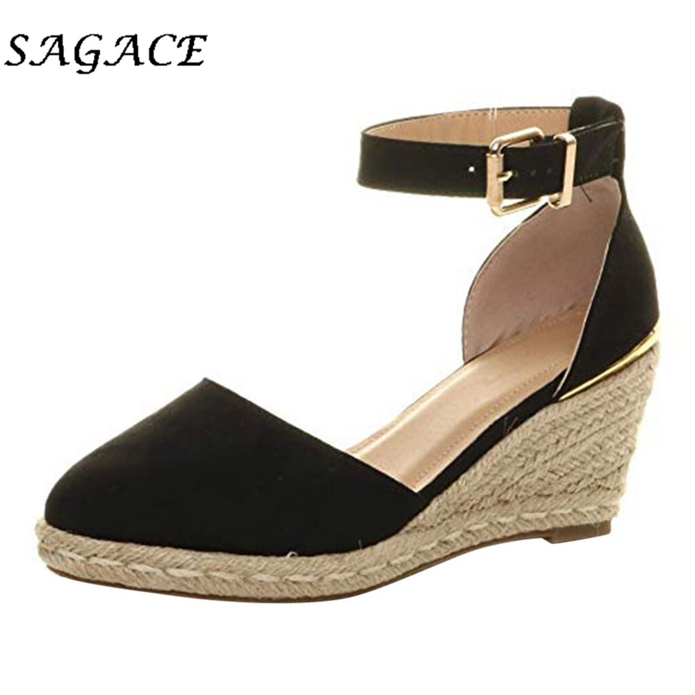 SAGACE Buckle Sandals Heels Wedge Women Flock Solid Casual with 5cm Sexy