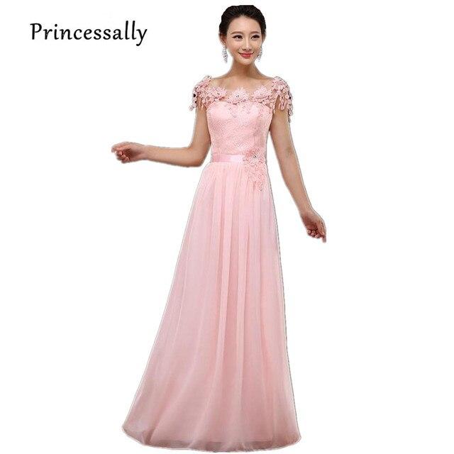 Rosa dama largo Vestidos gasa Encaje flor Vestido de manga corta Festa  barato vestido de dama 5f4341060e06