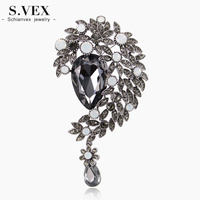 S VEX 2017 New Vintage Crystal Brooches For Women Fashion Arylic Bead Water Drop Brooch Pins