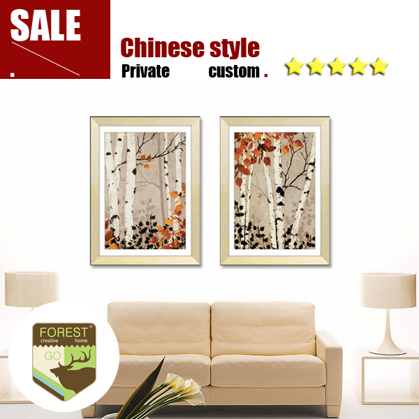 Classic White Poplar Forest Canvas Oil Paintings Tree Wall Decor Home Art Diy Craft Autumn Falling