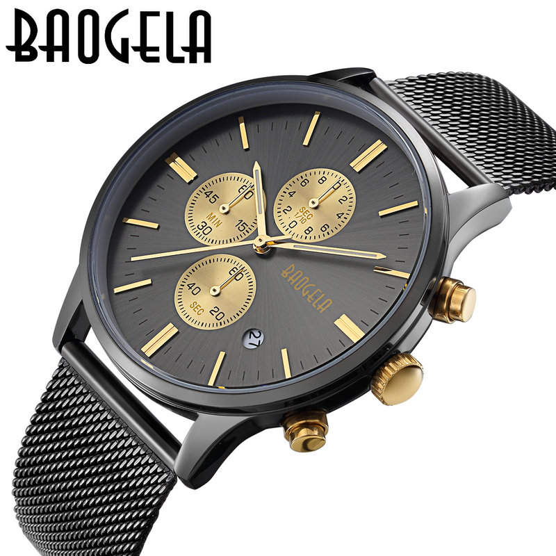 Luxury Brand BAOGELA Men's Quartz-Watch Stainless Steel Mesh Band Gold Watches Slim Men Chronograph Watches Sports Wristwatch men gold watches automatic mechanical watch male luminous wristwatch stainless steel band luxury brand sports design watches