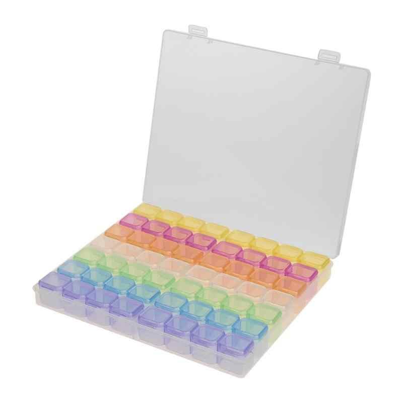 56 Grid 5D DIY Diamond Lukisan Bor Kotak Perhiasan Kotak Sulaman Berlian Imitasi Kristal Kristal Organizer Case Penyimpanan Kontainer