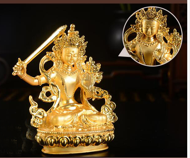 Wholesale Buddhist supplies # Bless Safe good luck Protection-Buddha gilding pocket small Bodhisattva Manjusri Buddha statueWholesale Buddhist supplies # Bless Safe good luck Protection-Buddha gilding pocket small Bodhisattva Manjusri Buddha statue