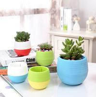 Candy Color Mini Plastic Flower Pots Vase Planter Nursery Pots Gardening Supplies LX1843