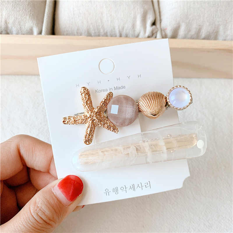 Fashion Women Shell Pearl Starfish Side Clips Barrette Headwear Hair Ornament