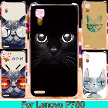 Cat Painting Phone Cover Housing Shell For Lenovo P780 5.0 inch P 780 Cover Lovely Animals Painted Phone Cases Hard Back Cover