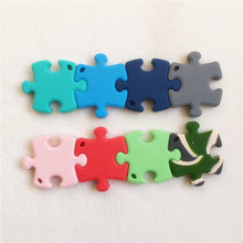 Chenkai 10PCS BPA Free Silicone Puzzles Jigsaw Teether DIY Baby Shower Pendant Nursing Pacifier Dummy Sensory Toy Accessory