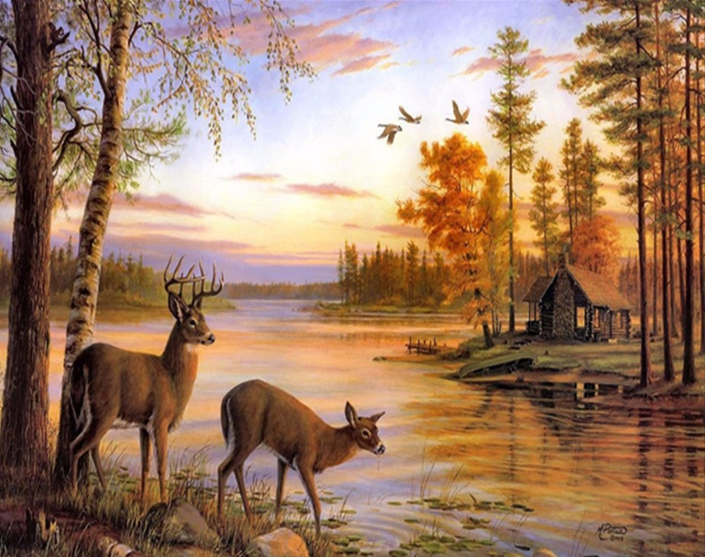 DIY diamond painting5D round diamond embroidery diamond Two deer next to the river cross stitch plastic crafts painting