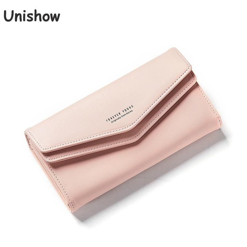 Unishow Long Women wallet Envelope Women Purse Clutch PU Leather Ladies Wallet Simple Female Purse Coin Card Holders 2018 pu leather women wallet casual long wallet female handbags teenage girl purse coin purse card holders portefeuille femme