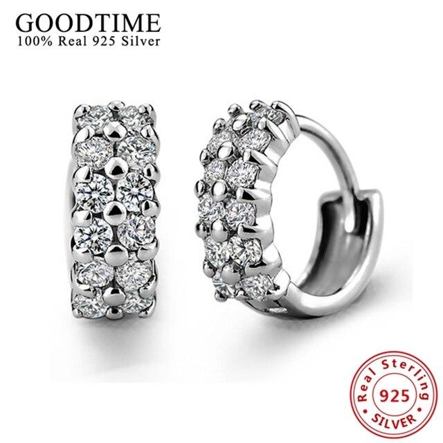 100% Real Genuine 925 Sterling Earrings Jewelry Solid 925 Silver Hoop Earrings Brincos fashion women jewelry AJE046