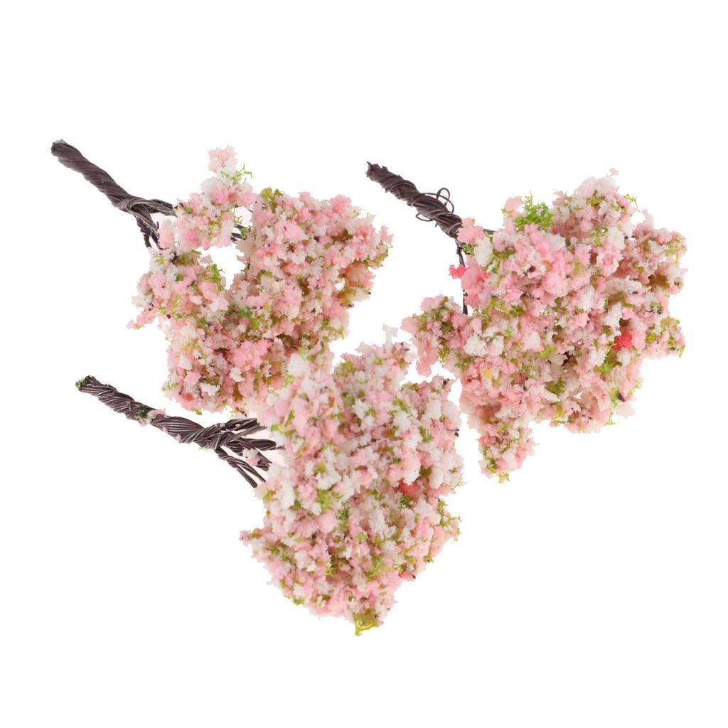 3pcs/lot Resin Miniature Flower Tree Plants Fairy Garden Decoration Dollhouse DIY Craft Model