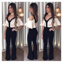 New 2018 Autumn Women V-Neck Wide Leg Jumpsuits Loose Cold Shoulder Straight Casual Ruffle Female