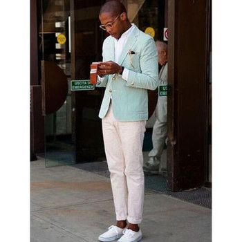 Fashion Mint Green Summer Men Suits With Ivory Pants Best Men Suits For Summer Young Men Daily Wear (jacket+pant)