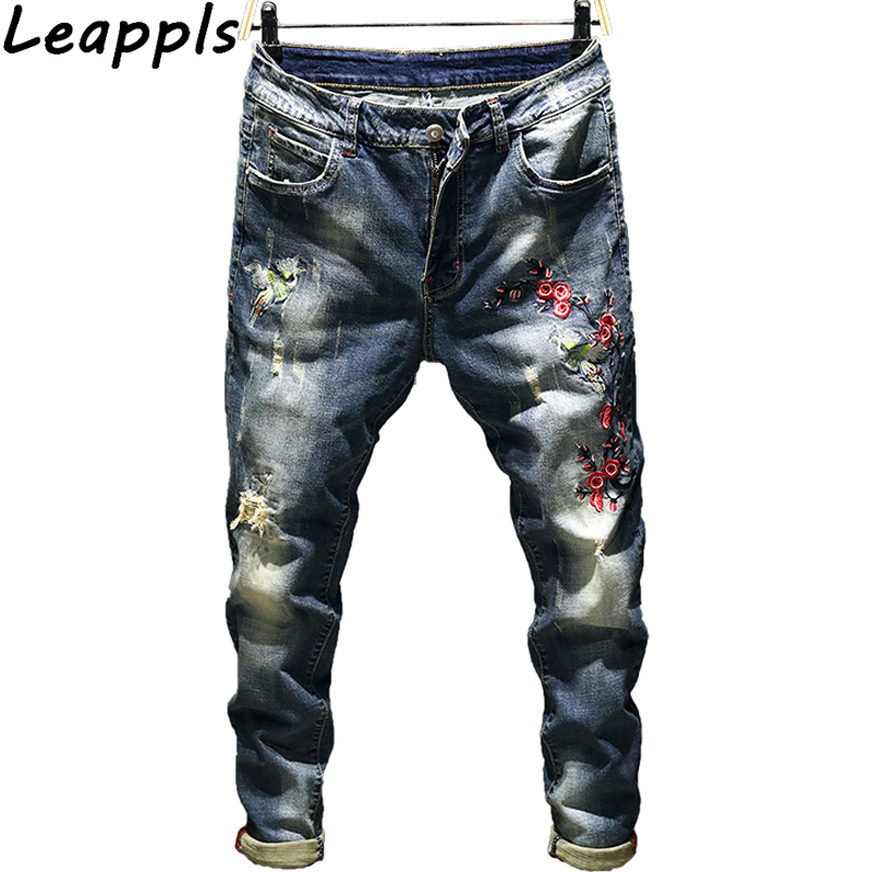 Leappls Jeans Pencil Pants Men 98% cotton Fashion embroidery Dark Holes Denim Casual Trousers streetwear Brands clothing autumn