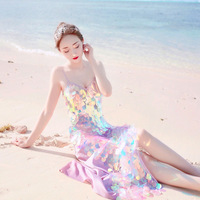 Sexy Metal Body Chest Chain Sequin Beach Dress Women Bling Bandage Summer Dress Beach Cover Up Bodycon Vestido Luxury