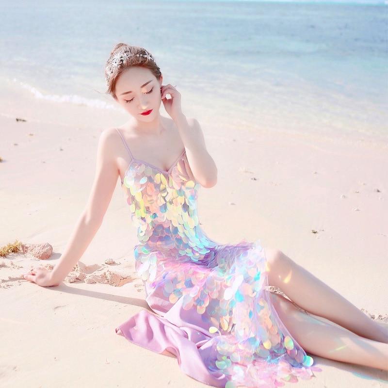 Sexy métal corps poitrine chaîne Sequin plage robe femmes Bling Bandage robe d'été plage cache moulante robe de luxe