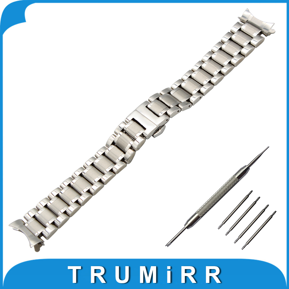 19mm 20mm Stainless Steel Watch Band + Tool for Longines Master L2 Butterfly Buckle Strap Curved End Wrist Belt Bracelet Silver 20mm stainless steel watch band curved end strap for ticwatch 2 42mm butterfly buckle wrist belt bracelet black silver tool