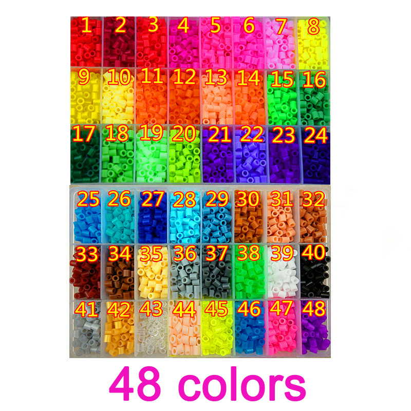 48 Color Perler Beads 2000pcs Ironing Beads 5mm Hama Beads Fuse Beads  Jigsaw Puzzle Diy