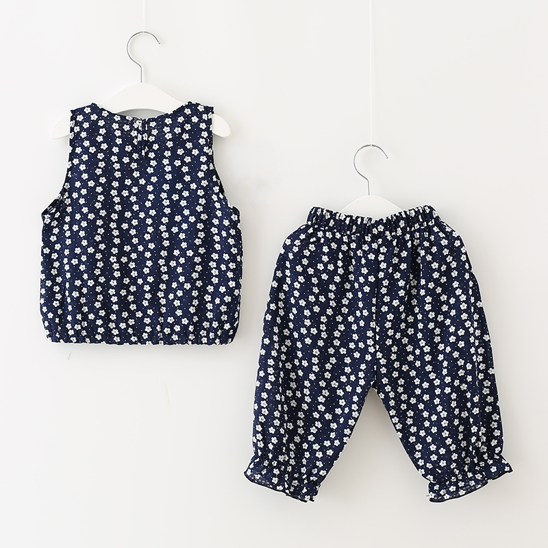 Tribros Children Clothing Set Suit For Girl 2017 Summer Floral Flower Sleeveless O-Neck Kids Clothes Cotton Baby Infant Sets