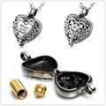 Top venda de alta qualidade heart urn memorial colar, sempre em Meu Coração cremação jóias dentro do cilindro de ouro barato por atacado