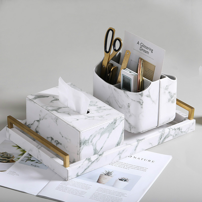 Detail Feedback Questions About Nordic Marble Pattern Home Decoration Storage Box Creative Office Desktop Sundries Tray Tissue Placemat On