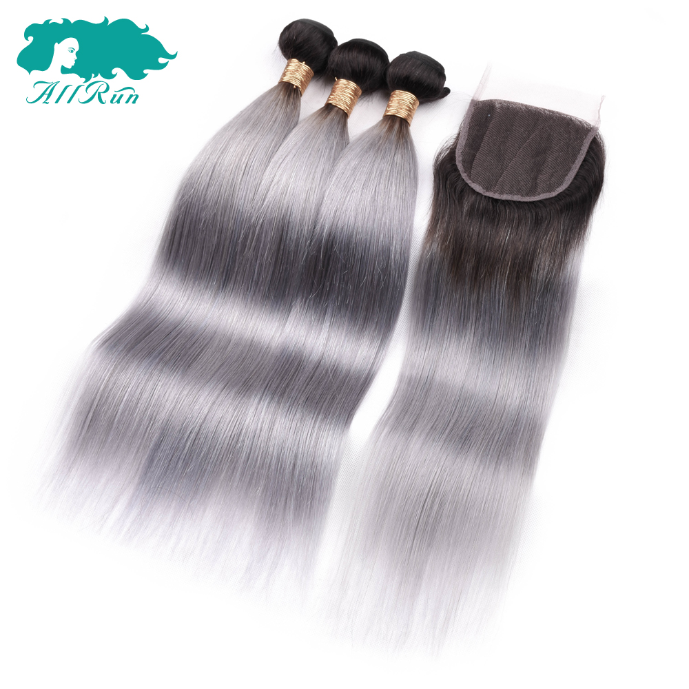 Allrun 1B/Grey Straight Brazilian Human Hair Weave 3 Bundles With Lace Closure Ombre Grey NonRemy Human Hair Bundle With Closure