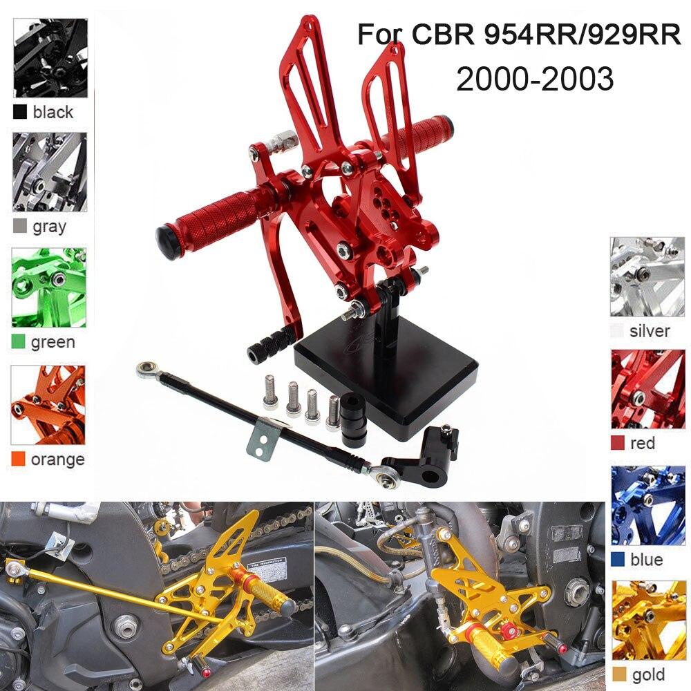 CNC Aluminum Adjustable Rearsets Foot Pegs For Honda CBR954RR CBR929RR CBR 954RR 929RR 2000 2003