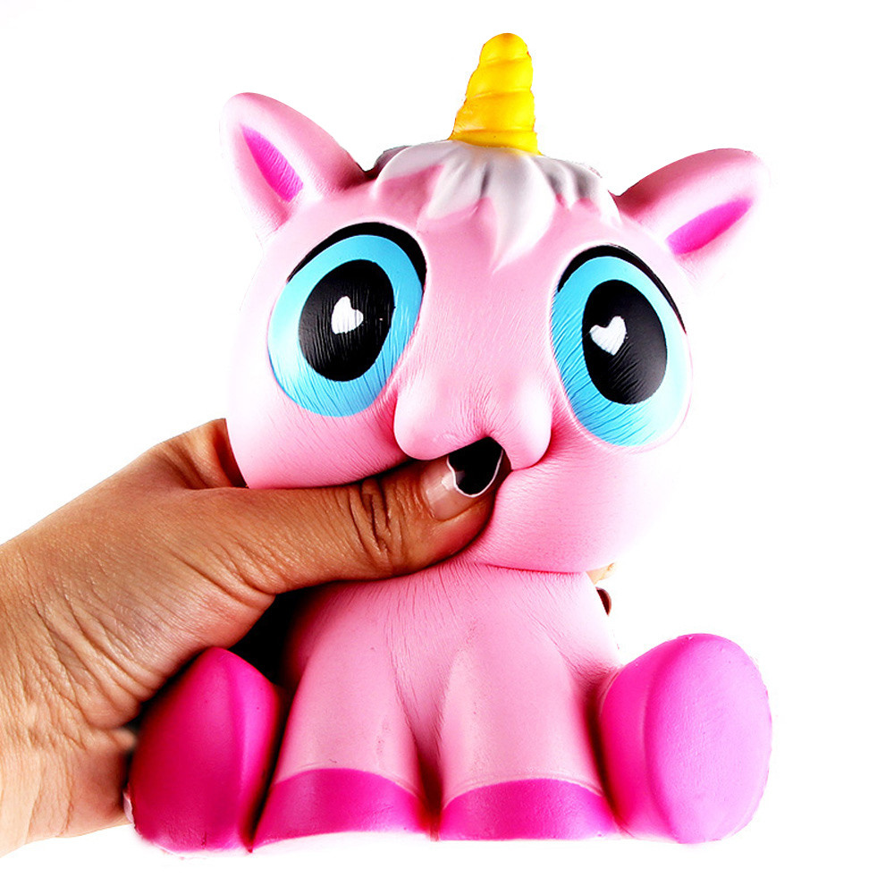 14cm Lovely Pink Unicorn Cream Scented Squishy Jokes gifts Slow Rising Squeeze Toy For Kids Anti Stress