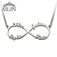 Al por mayor Collar Infinito con Nombres de Plata Collar Colgante Infinito 4 nombres Endless Love Infinito Regalo del Día de San Valentín